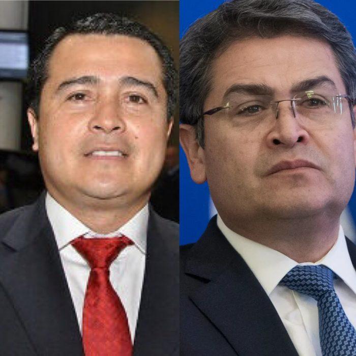 Presidente Juan Orlando Hernández reacciona previo la lectura de sentencia de Tony