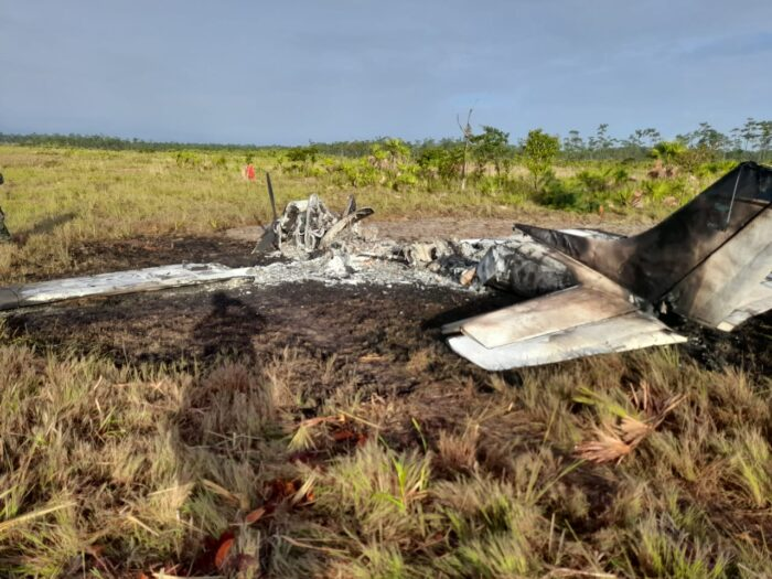 Autoridades registran narco avioneta incinerada