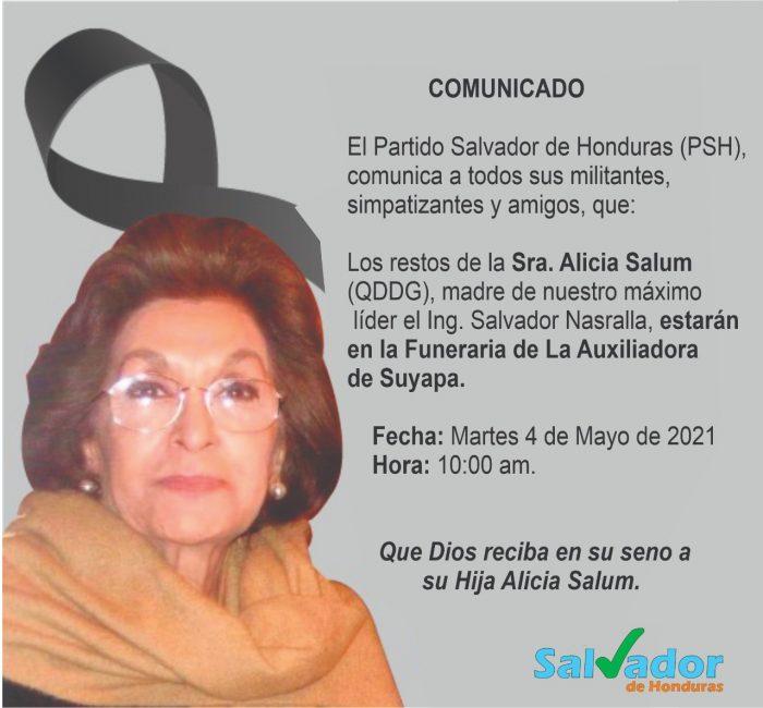 Muerte de madre de Salvador Nasralla