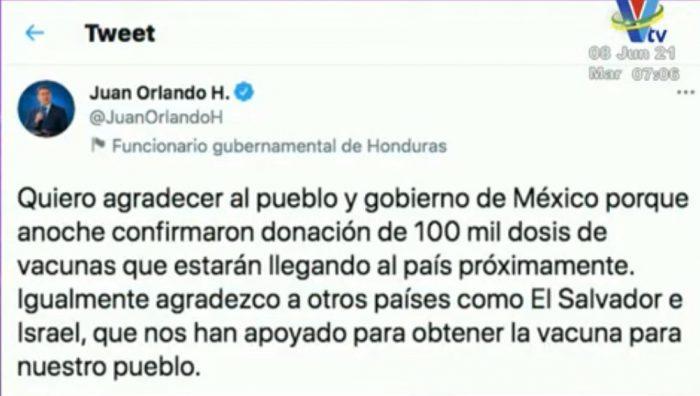 México donará 100 mil dosis de vacunas contra la Covid-19 a Honduras