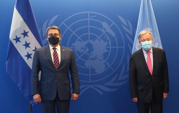 Pdte. Juan Orlando Hernández y el Secretario General de la ONU